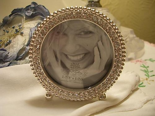 Round rhinestone photo frame...