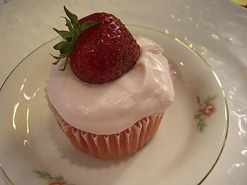 A single strawberry cupcake...