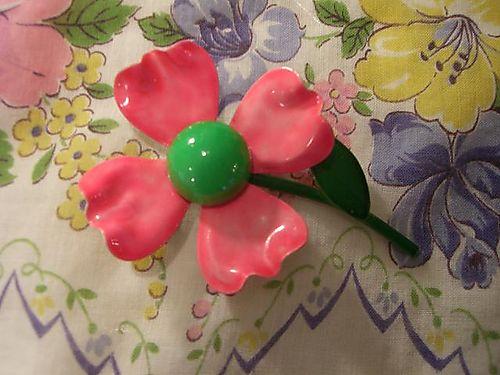 Pink vintage flower pin...
