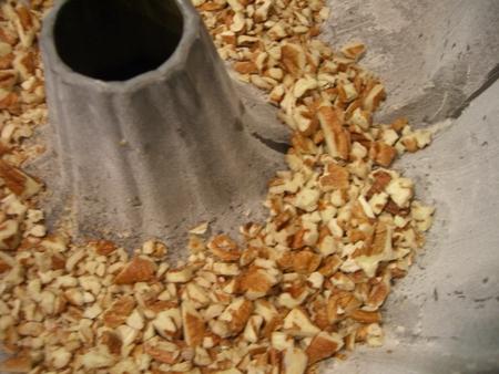 Pecans in bottom of bundt pan..