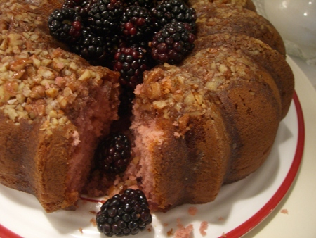 Blackberry Wine Cake with glaze...