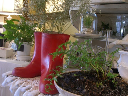 Red rain boots...