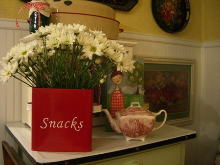Flowers in a snack bin...