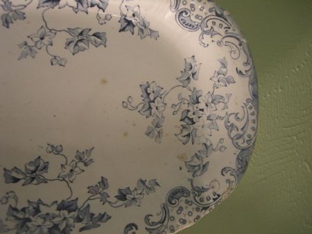 Blue and white floral ironestone platter...