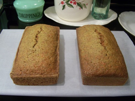 2 loaves of carrot bread...