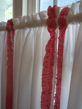 Red and white check ruffles...