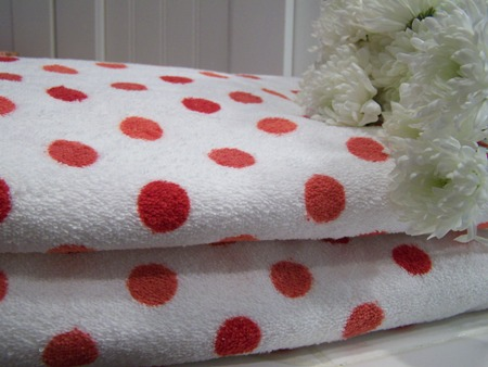 Polka Dot Bath Towels Cherry Hill Cottage Love My Valentine