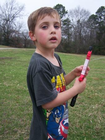 Sam flying a kite...
