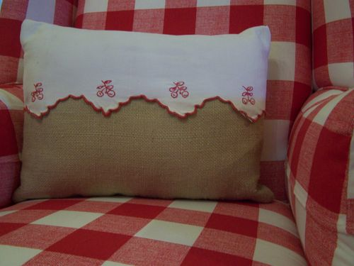 Cherry and burlap pillow...