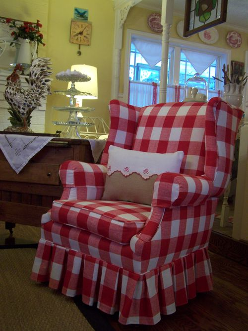 Red and white check chair...