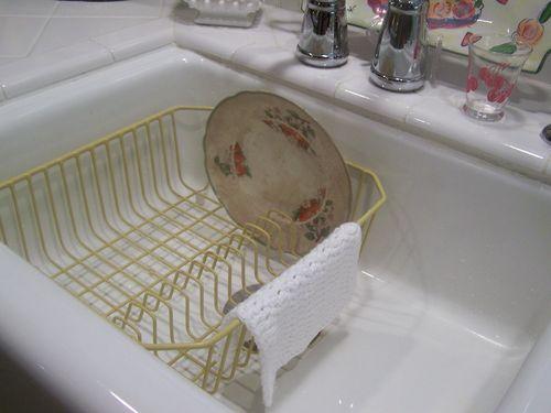 Yellow vintage dish drain...