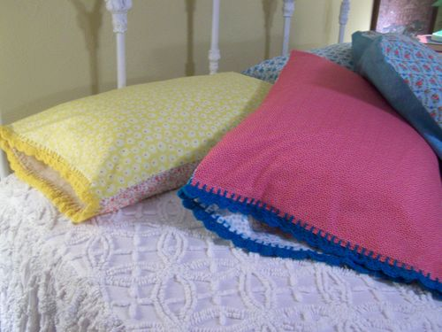 Pillowcases with crochet trim...